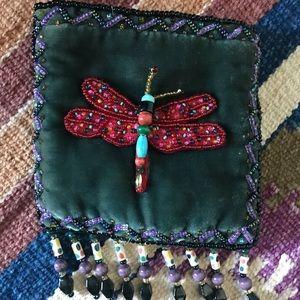 Velvet Beaded Mini Dragonfly ZIP Pouch